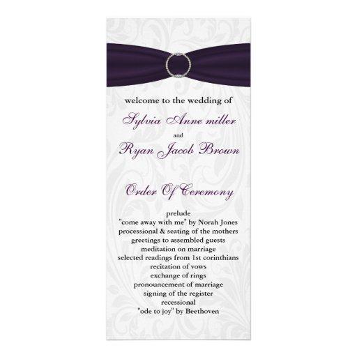 programme pourpre de mariage de damassé double cartes customisées