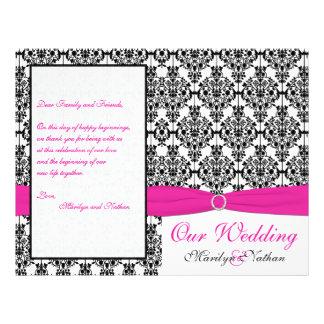 Programme rose blanc et noir de mariage damassé