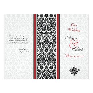 Programme rouge et noir de mariage damassé prospectus 21,6 cm x 24,94 cm