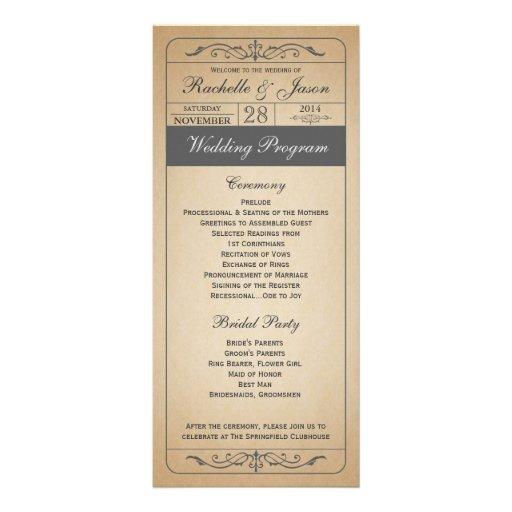 Programme vintage de billet de mariage double cartes customisées
