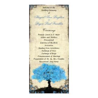 Programme vintage de mariage d'arbre de silhouette carte double en  couleur