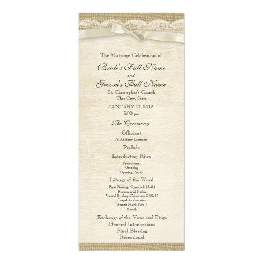 Programme vintage de mariage de dentelle et de toi carte double customisable