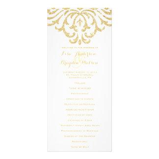Programme vintage de mariage d'élégance de charme double carte en  couleur