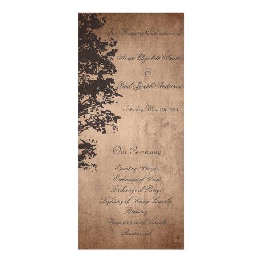 Programme vintage rustique de mariage doubles cartes