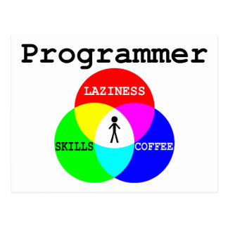 Programmer Intersection Laziness, Skills, Coffee Postcard