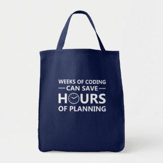 Programmer Weeks Coding Save Hours Planning Tote Bag