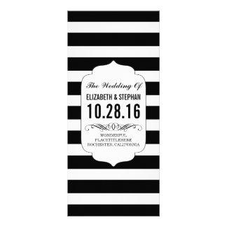 Programmes chics de mariage de rayures noires et double carte personnalisée
