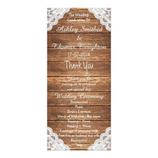 Programmes en bois de mariage de Brown de dentelle Double Carte