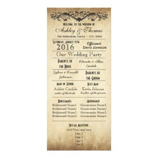 Programmes rustiques vintages de mariage de carte double customisable