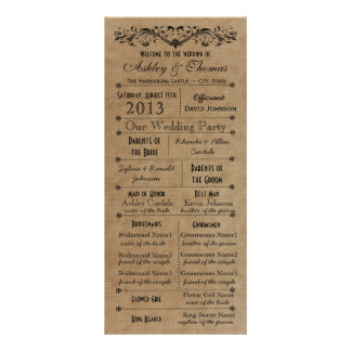 Programmes rustiques vintages de mariage de style double cartes customisées