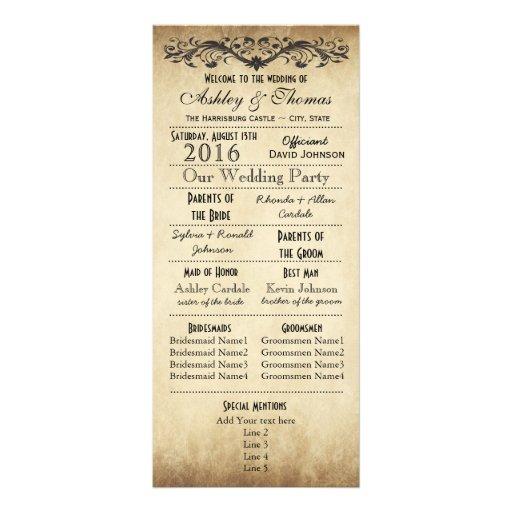 Programmes rustiques vintages de mariage de typogr carte double customisable
