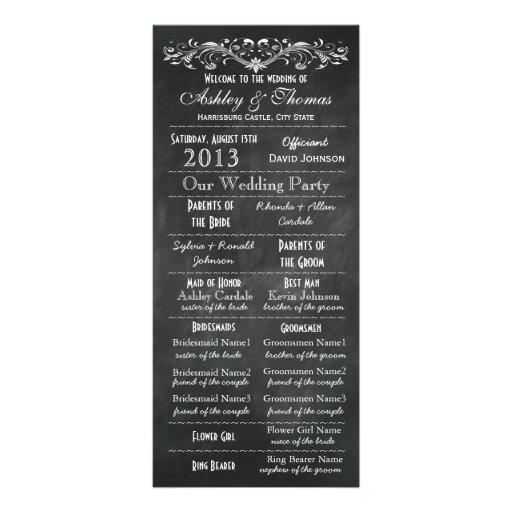 Programmes vintages de mariage de tableau de typog carte double en  couleur