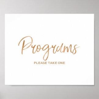 Programs 8x10 Stylish Rose Gold Wedding Sign