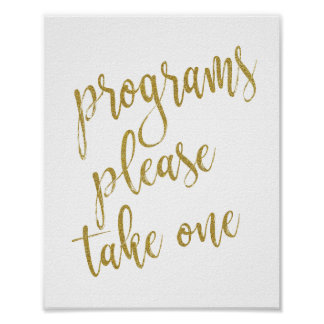 Programs Please Take One Glitter 8x10 Wedding Sign