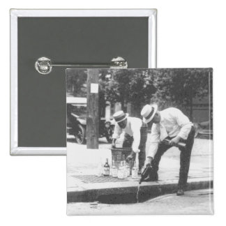 Prohibition Pouring Whiskey into a Sewer Vintage 2 Inch Square Button