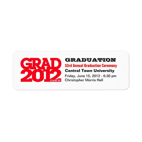 Project Graduation Class of 2012 Label Red