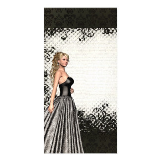 Prom girl in a black dress photo card template