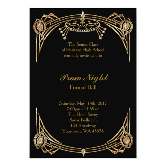 Prom night formal ball black gold invitation zazzle prom night formal ball black gold invitation stopboris Image collections
