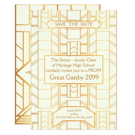 Prom Senior-Junior, Great Gatsby, Gold, ivory Card