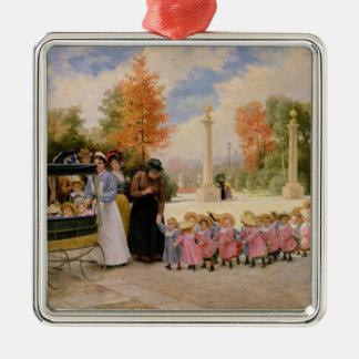 Promenade des Enfants Silver-Colored Square Ornament
