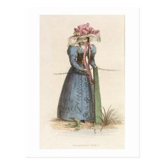Promenade Dress, fashion plate from Ackermann's Re Postcard