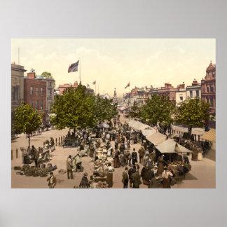Promenade - Market Day, Taunton, Somerset, England Poster