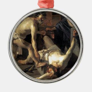 Prometheus Being Chained, by Dirck van Baburen Silver-Colored Round Ornament
