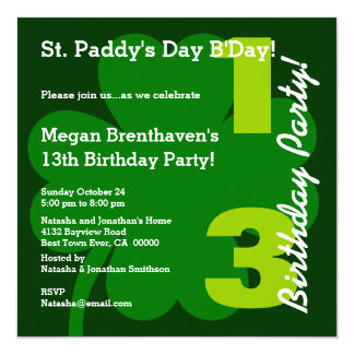 "PROMO5 13th Teen ST PATRICK Birthday Shamrock 5.25"" Square Invitation Card"