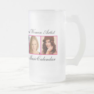 PROMO 5 BRILLIANT WOMEN FROM MYSPACE CALENDAR FROSTED GLASS BEER MUG