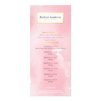 PROMO PRICE SERVICE LIST modern pink watercolor Rack Card