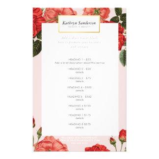 PROMO PRICE SERVICE LIST vintage red roses floral Flyer