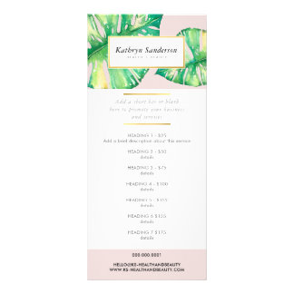PROMO PRICE SERVICES LIST eco monstera leaf Rack Card