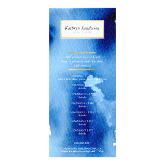 PROMO PRICE SERVICES LIST modern blue watercolor Rack Card