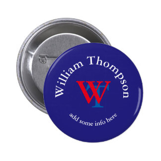 promote yourself | logo | monogram red/blue 2 inch round button
