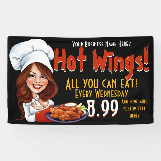 Promotional Hot Wings.Buffalo Chicken.Customize! Banner