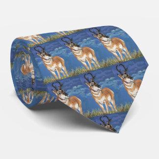 Pronghorn Antelope Watching Storm Wildlife Art Tie