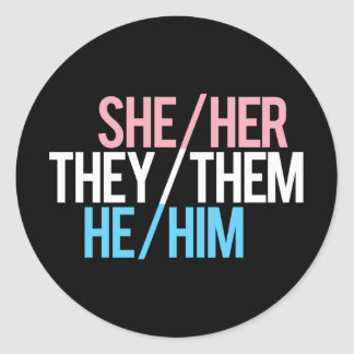 Pronoun Triad, Round Classic Round Sticker