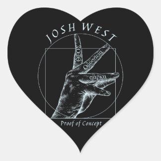 Proof of Concept White Logo Heart Sticker