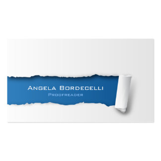 Proofreader Business Card Ripped Paper