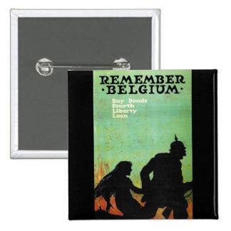 "Propaganda Poster ""Remember Belgium"" WWII Pin"