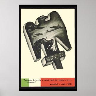 Propagande de Mussolini Affiche