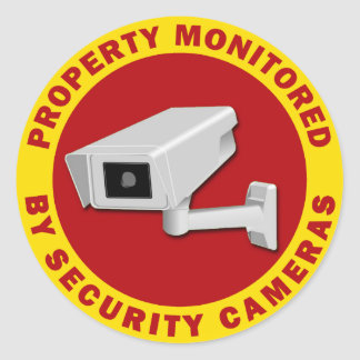 Property Monitored By Security Cameras Classic Round Sticker