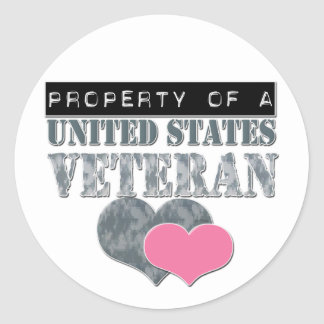 Property Of A United States Veteran Classic Round Sticker