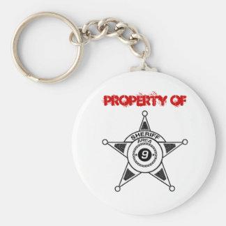 Property of Area 9 Sheriff Keyring Basic Round Button Keychain