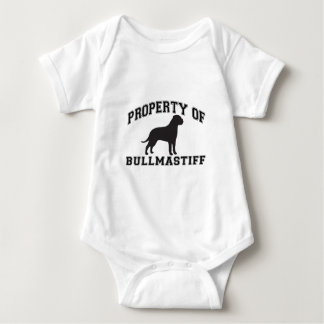 "Property of ""Bullmastiff"" with silhouette graphic Baby Bodysuit"