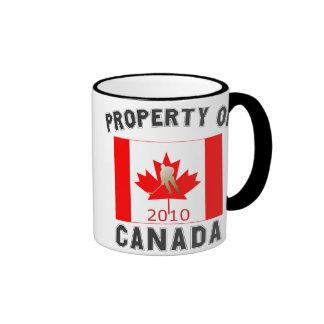 Property of Canada Hockey Flag Gold 2010 Ringer Coffee Mug