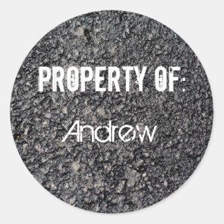 property of classic round sticker