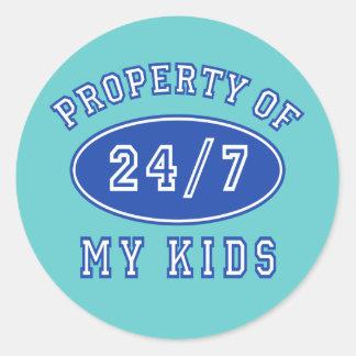 Property of My Kids 24/7 Tshirts, Hoodies Round Sticker