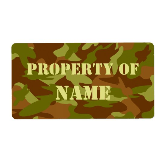 Property Of Name Label - Olive Drab Camo Shipping Label