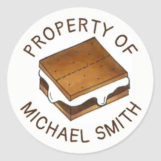 PROPERTY OF Personalized Campfire S'mores Camp Classic Round Sticker